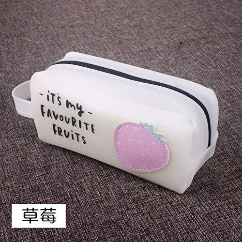 Escuela Estuches de lápices Suministros Escuela de regalo caja de lápiz de silicona grande de Kawaii fruta de la historieta caja de lápiz de gran bolso de la cremallera lápiz bolsa for el estudiante d