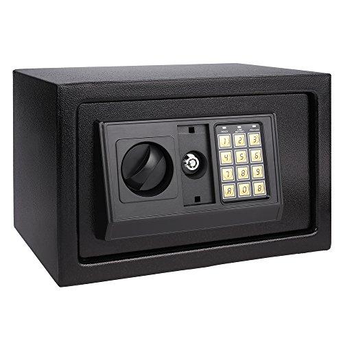 begorey Cassaforte Digitale Numerica a Muro Cassetta Elettronica di Sicurezza in Acciaio Inox con Serratura e Chiave Nero