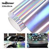 TECKWRAP カーラッピング シルバー(銀) 長さ152cm幅30cm フィルム ホログラム ホログラフィック メッキ クローム グロス(光沢・艶あり) シールステッカー エア抜き溝仕様 カーラッピングシートフィル