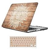 iCasso MacBook Pro Funda de plástico de 13 pulgadas con revestimiento de goma, cubierta dura de plástico para MacBook Pro Cubierta del teclado Modelo A1278 de 13 pulgadas (Mandala de madera clara)