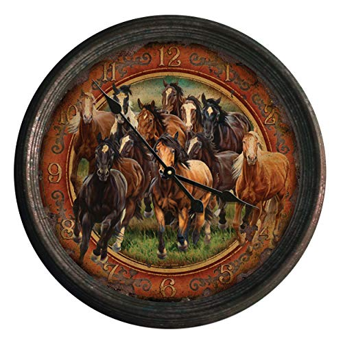 River's Edge Products Round Wall Clock, 15 Inch Diameter Tin Frame, Distressed Analog Clock, Horse Scene