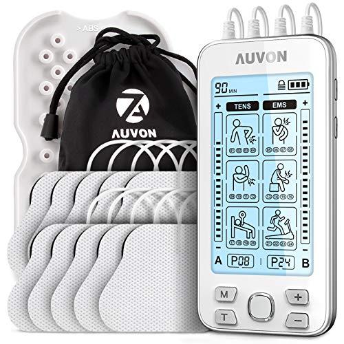 AUVON Electroestimulador TENS de 4 salidas, TENS EMS para terapia de alivio del dolor con masajeador de pulso eléctrico de 24 modos, 10 piezas de electrodos premium de 2