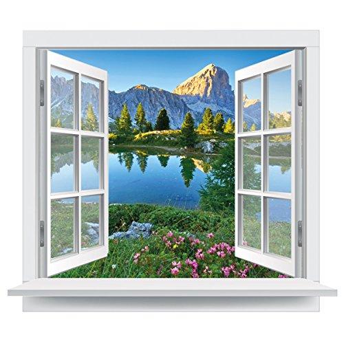 Premiumdesign Wandtattoo offenes Fenster italienische Dolomiten Ausblick Bergsee in Originalgröße 120 x 102cm farbig #141