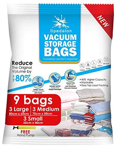 Spedalon Vacuum Storage Bags - Pack of 9 (3 Large + 3 Medium...