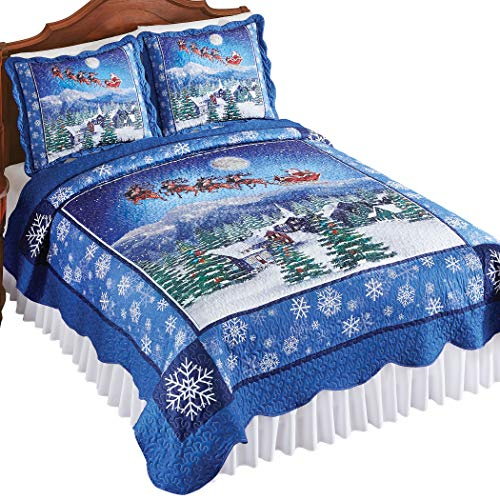 Night Before Christmas Scene Quilt with Snowflake Accents and Scalloped Edges - Seasonal Bedroom Decor