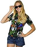 King Kameha - Camisa hawaiana para mujer, manga corta, bolsillo frontal, estampado hawaiano, diseño de loros Papagayo de cereza, color negro. M