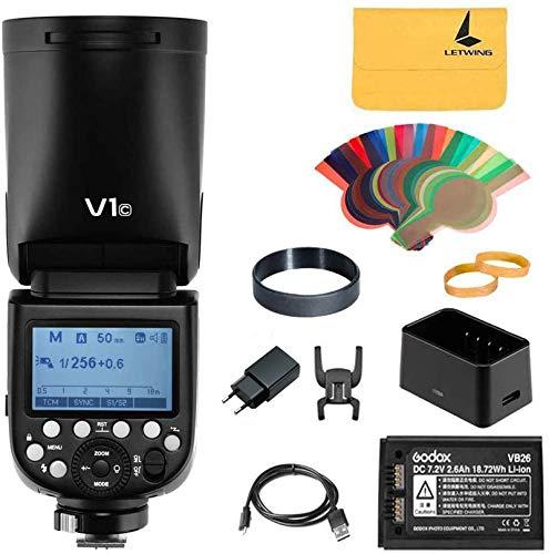Godox V1-C Flash per Canon, Lampeggiatore a Testa Tonda 76Ws 2.4G TTL, HSS 1/8000, Batteria al Litio da 2600 mAh, Lampada Modellante a LED a 10 Livelli