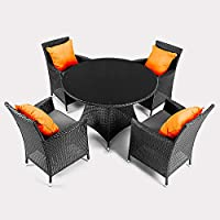 Virasat Furniture & Furnishing Black Color 5 Seater Patio Outdoor Indoor Furniture Sets with Table & Cushions 4+1 Sofa...