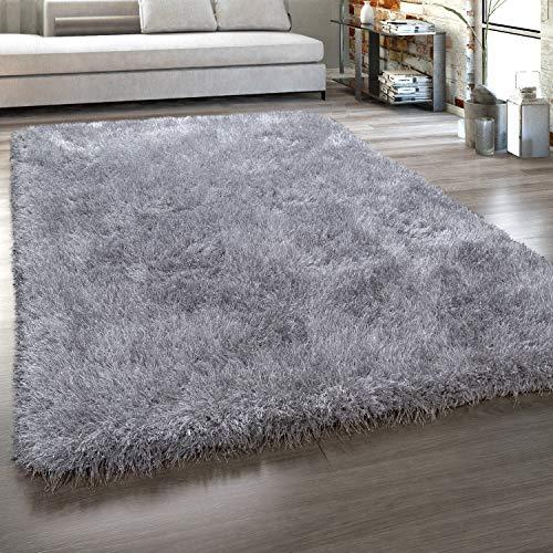 Paco Home Hochflor-Teppich, Shaggy Mit Glanz-Effekt, Einfarbig in versch. Farben u. Größen, Grösse:140x200 cm, Farbe:Grau