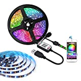 LED Strip Lights Bluetooth Music Sync 16.4ft, 5V USB Powered LED Light Strip Waterproof, 150LEDs RGB 5050 Color Changing with App Control for Home Decoration TV PC Mirror Bedroom Party Bar,Connectable