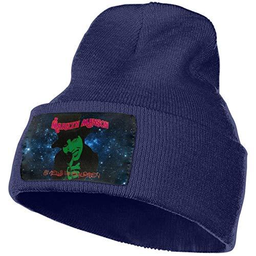 ALWAYSUV Men's & Women Warm Logo of Marilyn Manson Smells Like Children Beanie Knit Hats Navy
