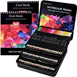 72 Professional Watercolor Pencils with 2 x 50 Page Drawing Pad for Coloring Books, Artist Pencils Set, Premium Artist Lead with Vibrant Colors, Ideal for Coloring, Blending and Layering