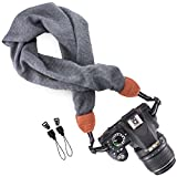 Wolven Soft Scarf Camera Neck Shoulder Strap Belt Compatible with All DSLR/SLR/Digital Camera (DC)/Instant Camera/Nikon/Canon/Sony/Olympus/Leica/Fujifilm Etc, Grey