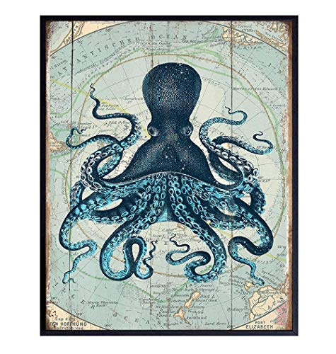 Retro Style Nautical Home, Office, Apartment or Wall Decor Picture - Vintage Octopus Photo Print is Great Gift or Decoration for Bathroom, Beach or Ocean House - 8x10 Art Poster