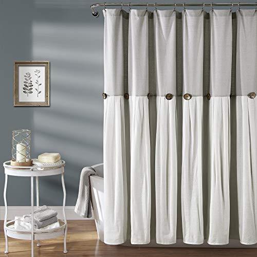 Lush Decor Linen Button Shower Curtain, 72' x 72', Gray & White