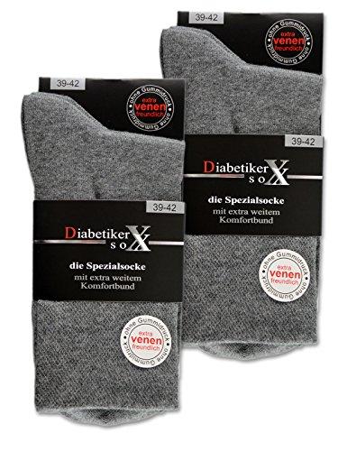 6 Paar Socken mit Komfortbund ohne Gummi & ohne Naht 97% Baumwolle Damen & Herren Diabetiker Socken (43-46, Grau)