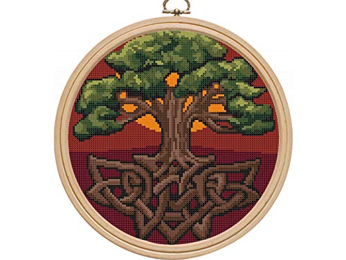 Celtic Tree of Life Cross Stitch Pattern PDF, Modern Counted Printable DMC Easy Cross Stitch Patterns, Sun Sunset Dawn, Home Decor DIY, Instant Download, Materials are NOT Included!
