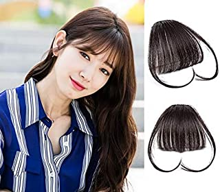 9A 100% Malaysian Virgin Clip in Bangs Human Hair Extensions Flat/Fringe Bangs with Temple LIght and Soft Hand Tied Fashion Hair Extensions for Girls (Clip in Bangs with Temple, 2/Dark Brwon)
