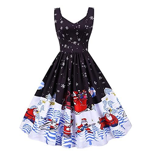 Women Sleeveless Dress Christmas Printing Draw Back Swing Party Skirt Sling V Neck Vest Mini Dresses
