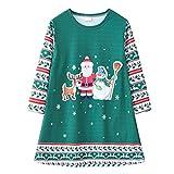 Vestido de fiesta para niña con cuello redondo, manga larga, falda en A, estampado de Navidad, vestido de princesa, D, 120 cm