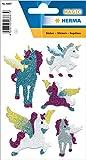 HERMA 6667 Glitzer Sticker 'Einhorn', selbstklebende Aufkleber aus Folie für Jungen, Mädchen oder Stickeralbum, 5 Tieraufkleber für Kinder