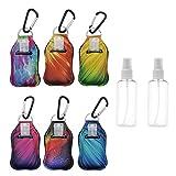 6 Pack Portable travel bottles-30ml Flip Cap Reusable Bottles Keychain Carriers for Shampoo,Hand Sanitizer Refillable Keychain Sanitizer Holder -1oz dispenser bottle, Metal 6 Pack Buckle Include