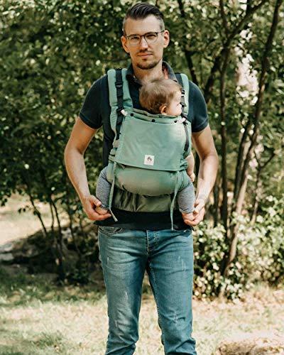 LIMAS Flex Babytrage Fullbuckle | 56-104 cm | Bauchtrage & Rückentrage & Onbuhimo | ab 2.-3. Monate bis 3+ Jahre | Baby Carrier | Jade