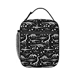 Black and White Dinosaur Skeleton Lunch Bag Insulated Lunch Box Cooler Tote with Shoulder Strap for Boys Girls Women Men