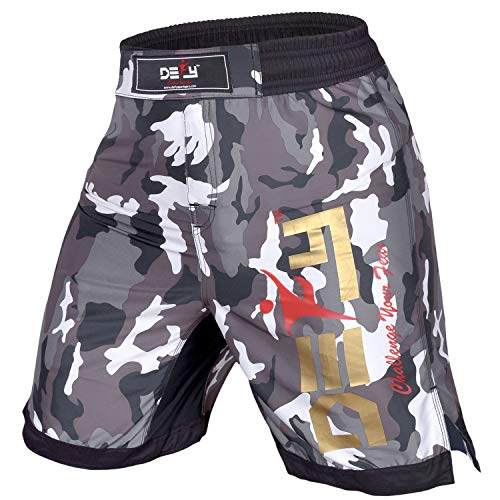 DEFY Premium MMA Fight Shorts Clothing UFC Cage Kickboxing Fighting Grappling Martial Arts Muay Thai Training Camouflage (White Camo, 2XL)
