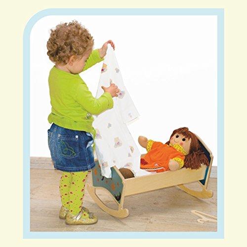 Dida - Cuna para muñecas - Decoración: Luna- Cunas de Madera con colchón para muñecas