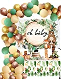 Woodland baby shower decorations-Sage Green Balloon Garland Arch Kit and Welcome baby Backdrop for Safari Jungle Party Favors,Boy & Girl Gender Neutral Forest Animal Decor for Showers & Birthdays