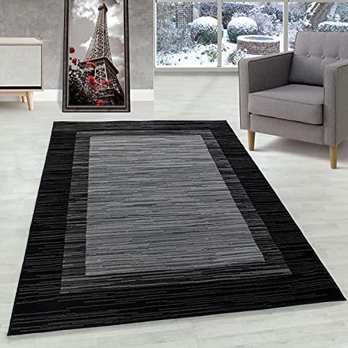 Carpettex Teppich Alfombra de Pelo Corto Alfombra de Sala Patrón Bordura Negro, Color:Negro, Tamano:80x250 cm