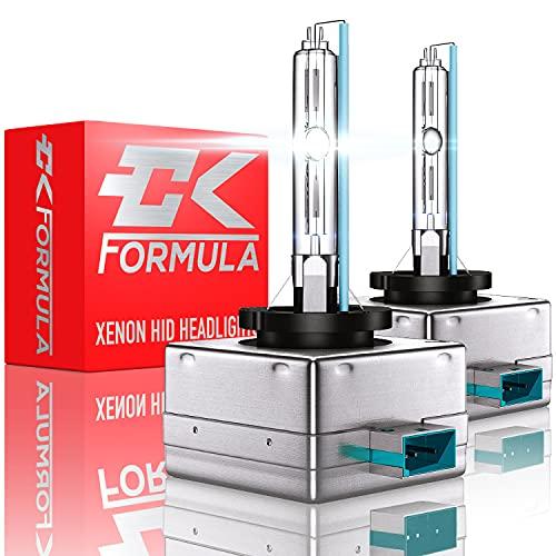 CK Formula D3S/D3R/D3C HID Headlight Bulbs - 6000K Super White, 12V 35W, 8000 Lumens, IP68 Waterproof, Xenon, Automotive Replacement Bulb, Metal Stents Base, Pack of 2