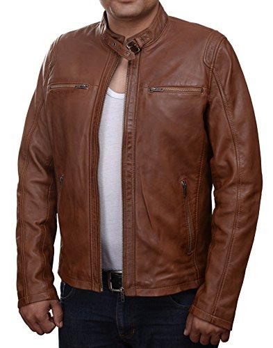 GIL   Herren-Lederjacke »Classic Rider« mit 2 Brusttaschen; feinstes Leder; klassisch Vintage Retro Motorrad; Farbe: Cognac (XL)