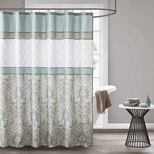 510 DESIGN Shawnee Printed and Embroidered Shower Curtain with Liner Blue 72x72