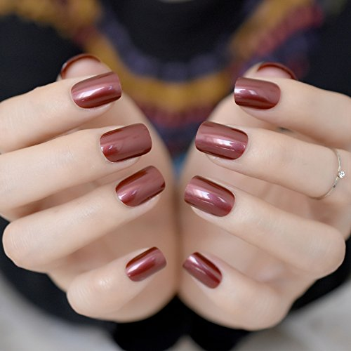 CoolNail Red Wine False Nails Tips Solid Color Square Full Cover Nail Tips Artificial False Fake Nails DIY Salon