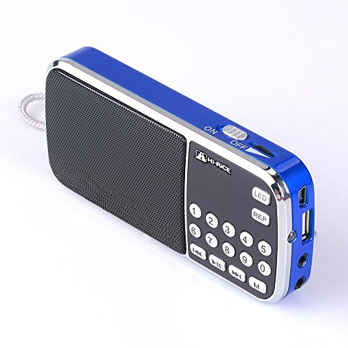 Hi-Rice SD-101 Portable FM AM Radio LCD Display Digital Speakers Support USB Disk TF/Micro SD Card Mp3 Player Best Gift for Elder Older Parents Leisure (Blue)
