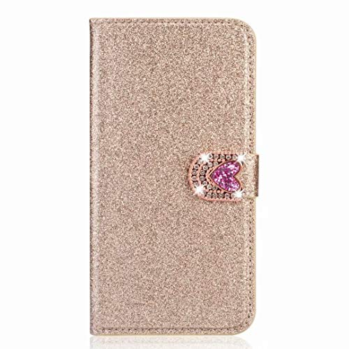 Samsung Galaxy A21s Case, 3D Handmade Bling Sparkly Diamonds Gems White Flower Shockproof PU Leather Flip Folio Cases with Magnetic Card Holders Stand Protective Cover for Samsung Galaxy A21s Golden
