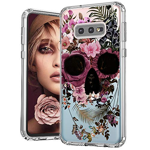 MOSNOVO Galaxy S10e Case, Floral Skull Flower Clear Design Printed Transparent Hard Back case with TPU Bumper Protective Case Cover for Samsung Galaxy S10e