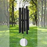 Loving Basso Wind Chimes for Outside Deep Tone,42 Inch Sympathy Wind Chimes for Outside Tuned Deep Tone for Garden Patio,Windchimes in Memory of Mother Father,Black