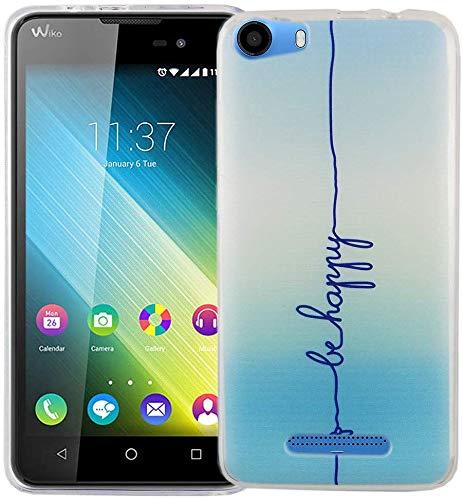 König Design Handy-Hülle kompatibel mit Wiko Lenny 2 Silikon Case Hülle Sturzsichere Back-Cover Handyhülle - Be Happy Design Blau