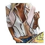 Camisa Mujer Suelta con Cuello V Blusa Mujer Primavera Verano Manga Larga Estampado Temperamento Tops Mujer Trabajo Diario Desgaste Sexy Camiseta Mujer D-Pink XXL