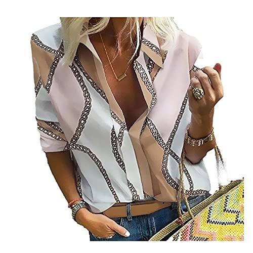 T-Shirt Damen Trend Mode Sommer Tiefer V Ausschnitt Damen Tops Einzigartig Kette Druck Lange Ärmel Design Täglich Lässig Lose Komfortabel All-Match Damen Bluse D-Pink XXL