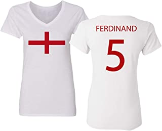Soccer Legends #5 Rio Ferdinand Jersey Style Womens Vneck T-Shirt
