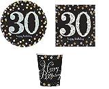 ILS I LOVE SHOPPING Kit Festa Coordinato Tavola Addobbi Party Set Compleanno con 8 Piatti 23cm, 8 Bicchieri e 20 tovaglioli (30 Anni, Set 8 Persone)