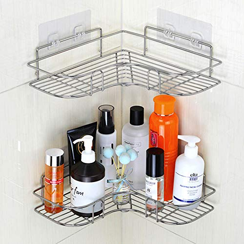 YUNKE Duschorganisator, Badezimmerregale, Duschkabine Badezimmeraufbewahrung mit Kohlenstoffstahl Kleber für Küchen- und Badezimmerzubehör - Kleberaufkleber enthalten - (Silber)