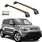 Turtle Brand Kia Soul Roof Racks Cross Bars Rails Top Carrier Alu 2PCS 2015-2019 (Black)