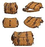 KKING Personalisieren Sie Canvas Messenger Bag - Vintage Umhängetaschen Unisex Laptop Umhängetasche - Gepäckrucksäcke Fit Travel Casual und Geschenke,Khaki