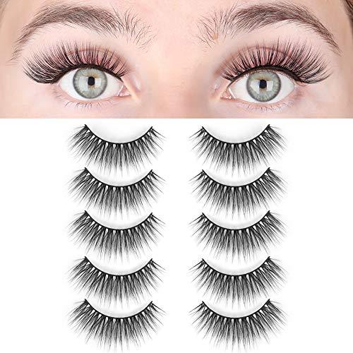 LASHVIEW False Eyelashes,Demi Wispies lashes,Mink Eyelashes, 3D Natural Layered Effect,Handmade Lashes,Comfortable and Soft,Environmental Silk Lashes,Reusable Natural Look False Eyelashes for Makeup