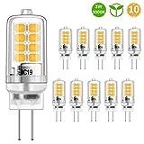 Bombilla LED G4 Blanco cálido 3W Equivalente a bombillas halógenas de 20W, Lámpara LED con enchufe G4, sin parpadeo, no regulable, 3000K, 350LM, 12V AC/DC, paquete de 10